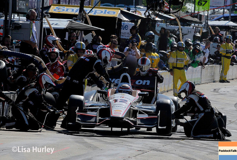 May 31: Will Power pit stop during Race 1 of the Chevrolet Detroit Belle Isle Grand Prix.