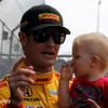 May 10: Ryan Hunter-Reay and son, Ryden, before the Grand Prix of Indianapolis.