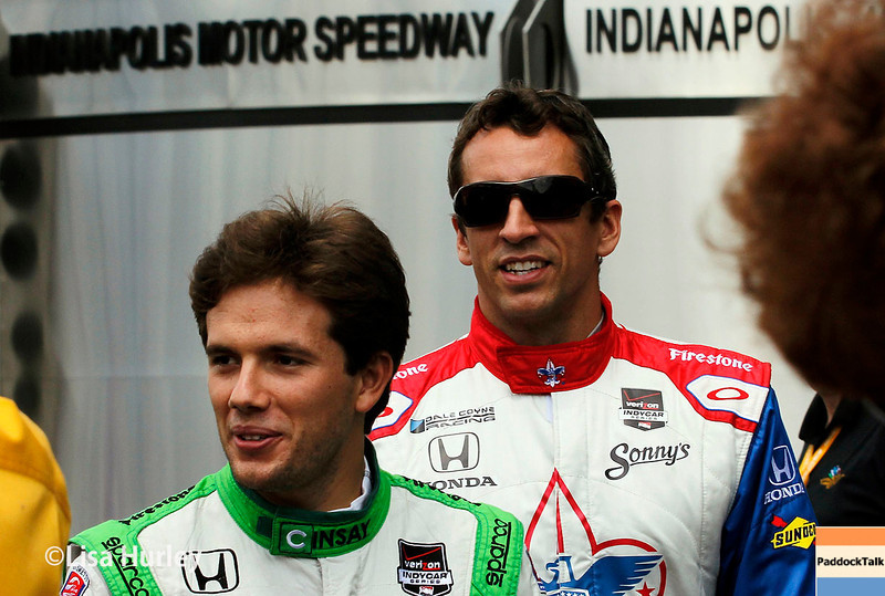 May 10: Carlos Munoz and Justin Wilson before the Grand Prix of Indianapolis.