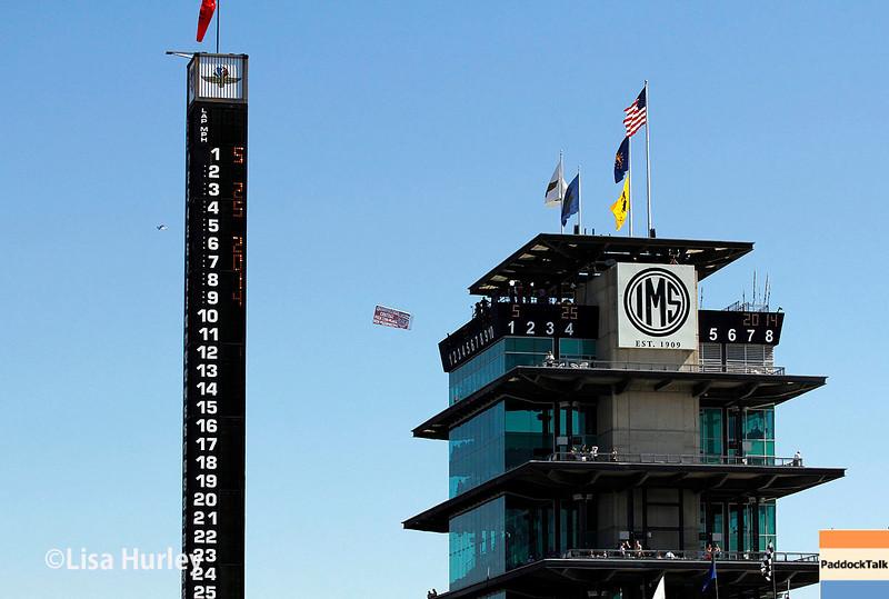 May 25: The scoring pylon and pagoda before the 98th Indianapolis 500.