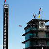 May 25: The scoring pylon and pagoda before the 98th Indianapolis 500.