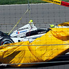 May 25: Josef Newgarden's crashed car during the 98th Indianapolis 500.