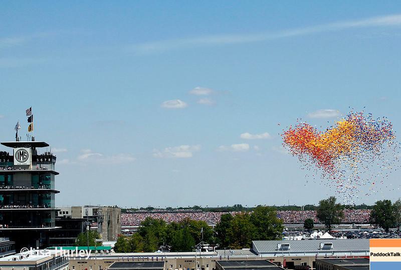 May 25: The pagoda and balloons before the 98th Indianapolis 500.