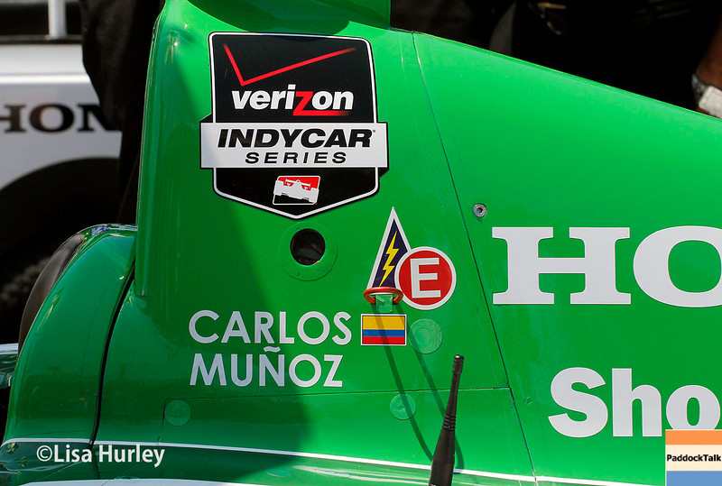 May 17: Carlos Munoz's car during qualifications for the Indianapolis 500.