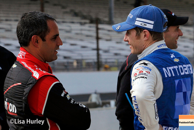 May 17: Juan Montoya and Ryan Briscoe during qualifying for the Indianapolis 500.