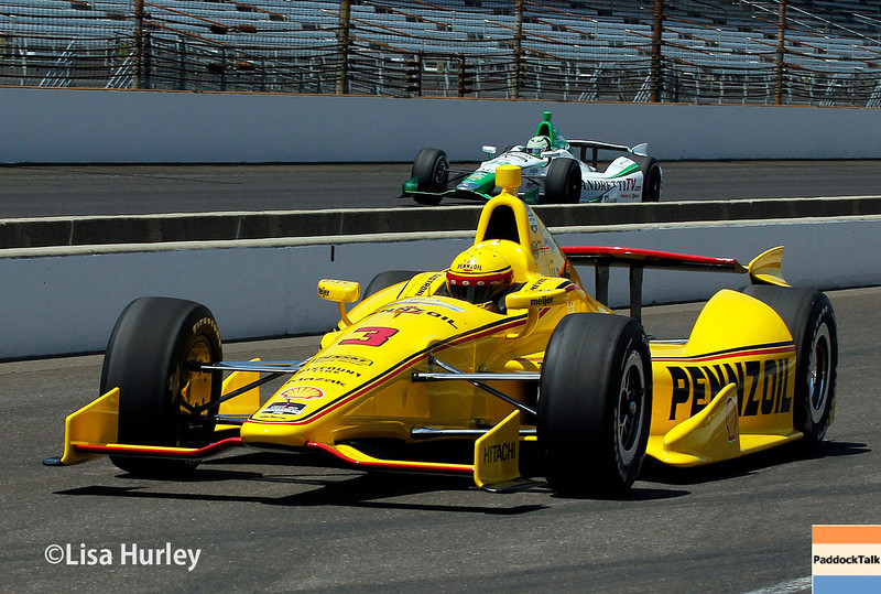 May 17: Helio Castroneves and Carlos Munoz during qualifications for the Indianapolis 500.
