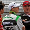 May 17: Sebastian Saavedra, Sebastien Bourdais, and Al Unser Jr. during qualifying for the Indianapolis 500.
