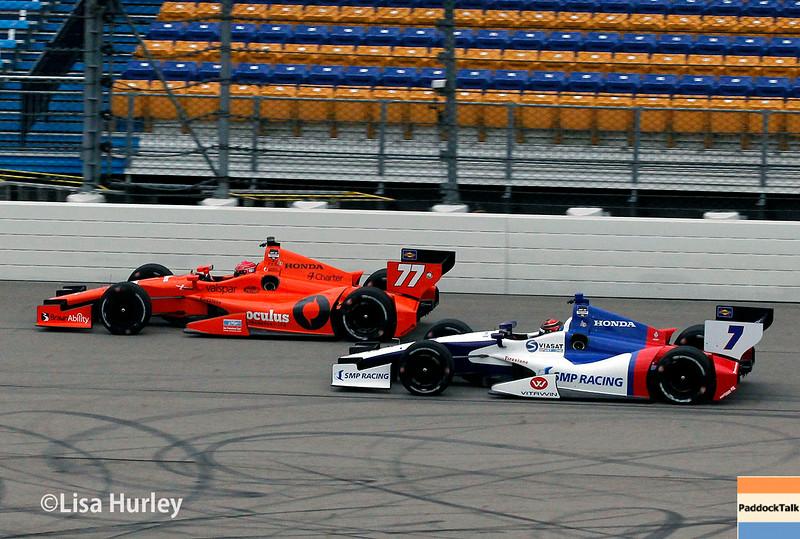 July 11: Simon Pagenaud and Mikhail Aleshin at the Iowa Corn Indy 300.