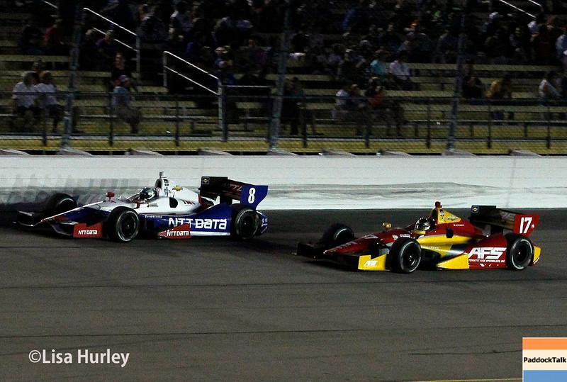 July 12: Ryan Briscoe and Sebastian Saavedra at the Iowa Corn Indy 300.
