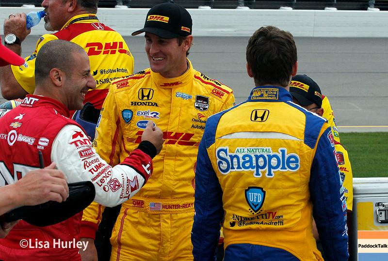 July 11: Tony Kanaan, Ryan Hunter-Reay and Marco Andretti at the Iowa Corn Indy 300.