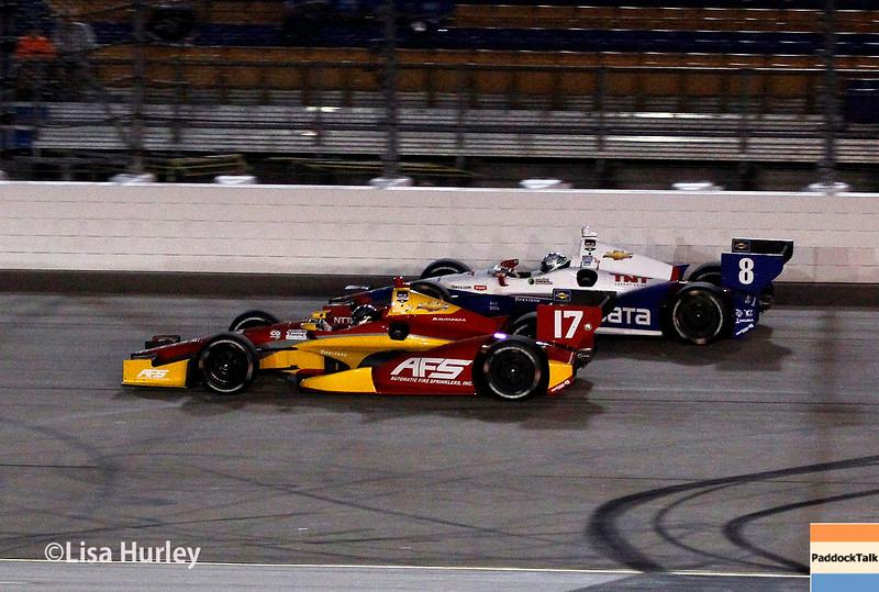 July 12: Sebastian Saavedra and Ryan Briscoe at the Iowa Corn Indy 300.