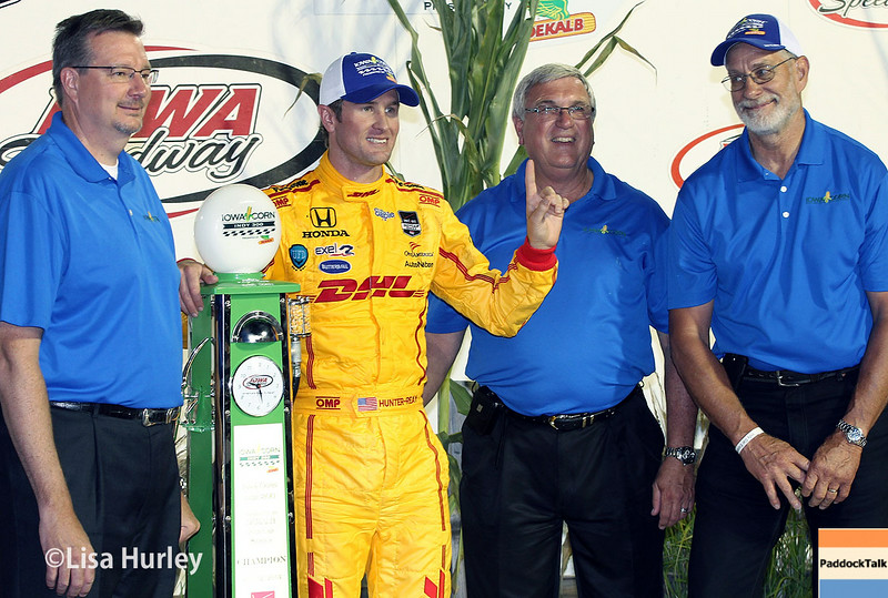 July 12: Race winner, Ryan Hunter-Reay, at the Iowa Corn Indy 300.