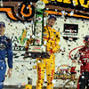 July 12: Podium finishers, Josef Newgarden, Ryan Hunter-Reay and Tony Kanaan, at the Iowa Corn Indy 300.