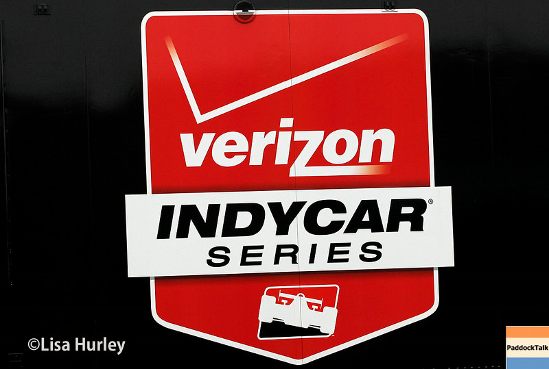 July 11: Verizon Indycar Series logo at the Iowa Corn Indy 300.