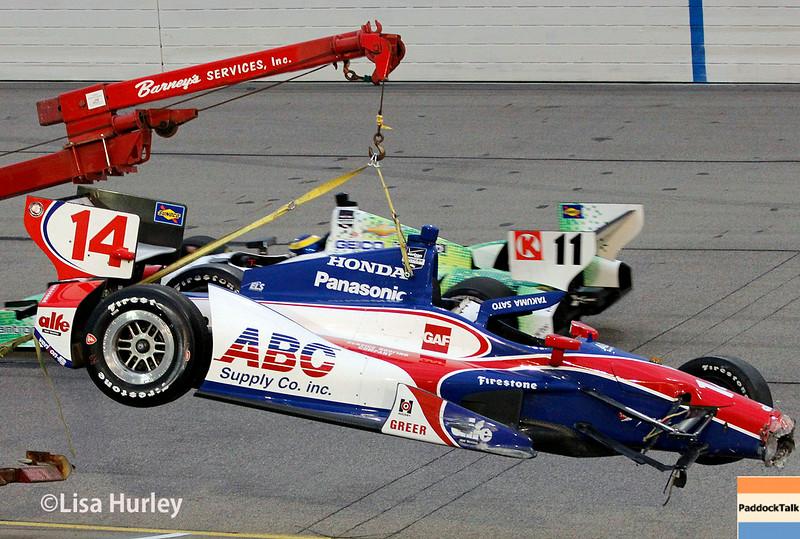 July 12: Takuma Sato's wrecked car at the Iowa Corn Indy 300.