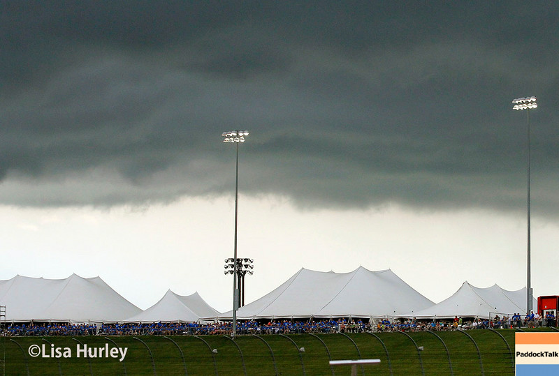 July 12: Storm clouds in the distance at the Iowa Corn Indy 300.