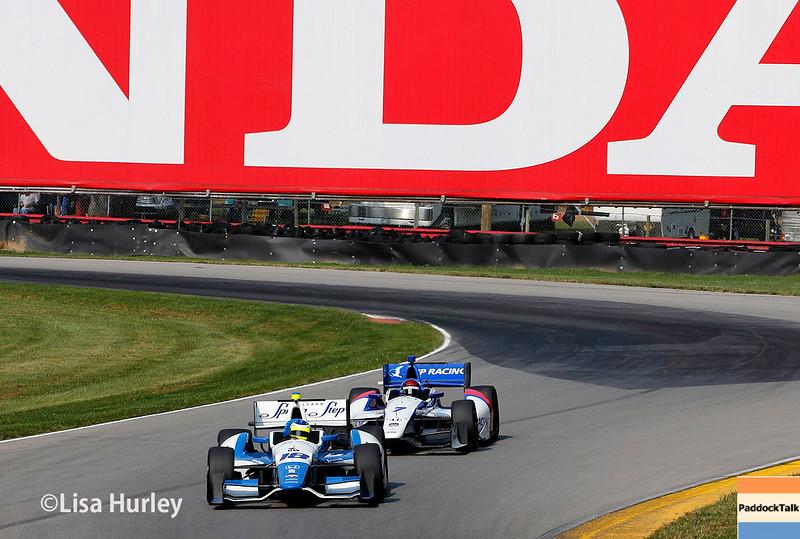 August 2: Mikhail Aleshin and Carlos Huertas at The Honda Indy 200 at Mid-Ohio.