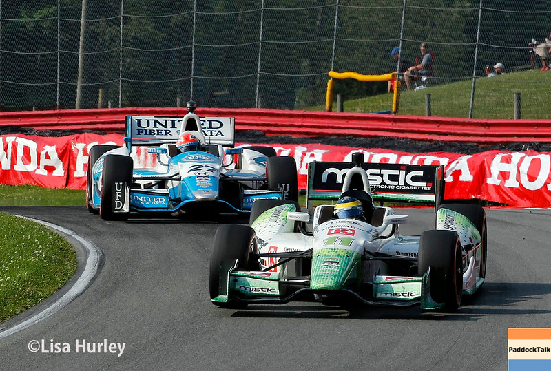 August 3: Sebastien Bourdais and James Hinchcliffe at The Honda Indy 200 at Mid-Ohio.