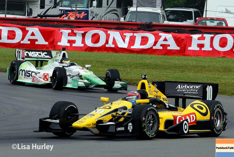 August 2: Sebastien Bourdais and Tony Kanaan at The Honda Indy 200 at Mid-Ohio.