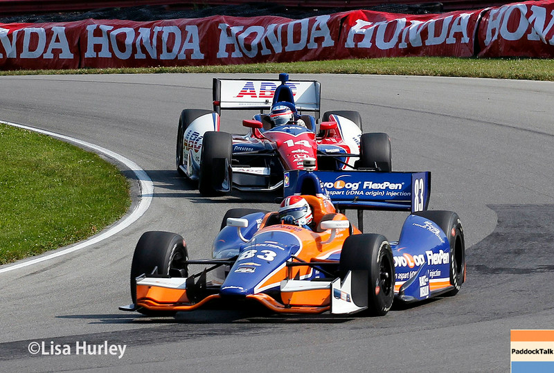 August 2: Charlie Kimball and Takuma Sato at The Honda Indy 200 at Mid-Ohio.