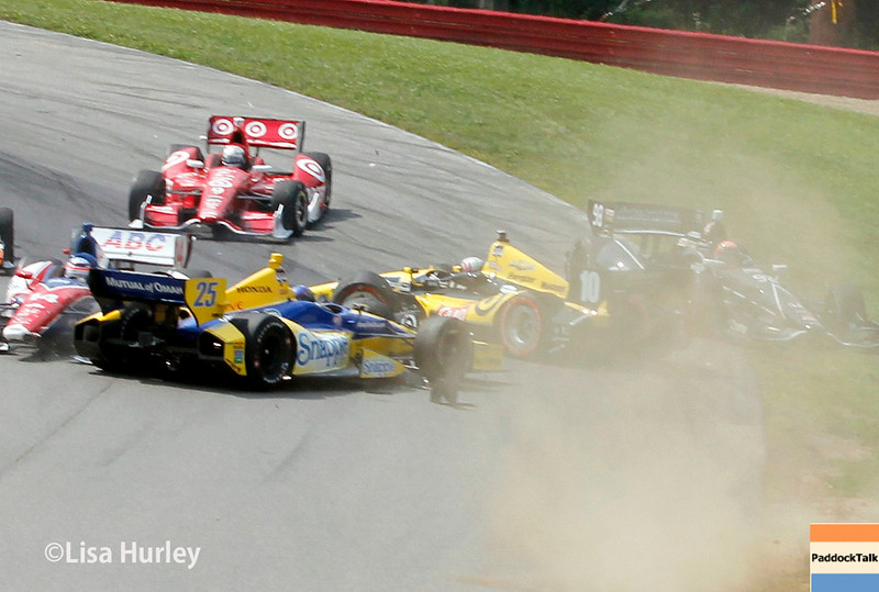 August 3: First lap accident at The Honda Indy 200 at Mid-Ohio.