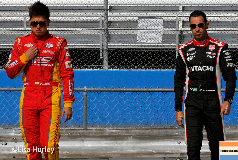 August 16: Sebastian Saavedra and Helio Castroneves at the Wisconsin 250 at Milwaukee Indyfest.