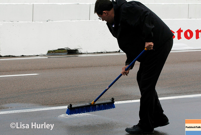 March 29:  Water removal before Verizon IndyCar series qualifying for the Firestone Grand Prix of St. Petersburg.