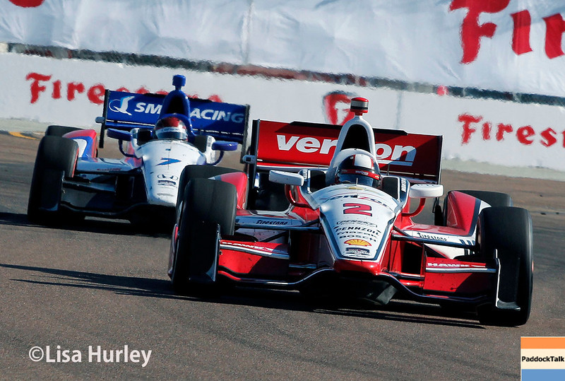 March 30: Juan Montoya and Mikhail Aleshin during the Firestone Grand Prix of St. Petersburg Verizon IndyCar series race.