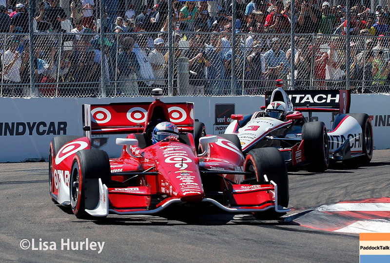 March 30: Scott Dixon and Helio Castroneves during the Firestone Grand Prix of St. Petersburg Verizon IndyCar series race.