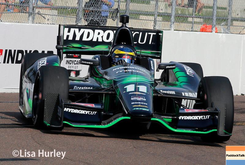March 28:  Sebastien Bourdais during Verizon IndyCar series practice for the Firestone Grand Prix of St. Petersburg.