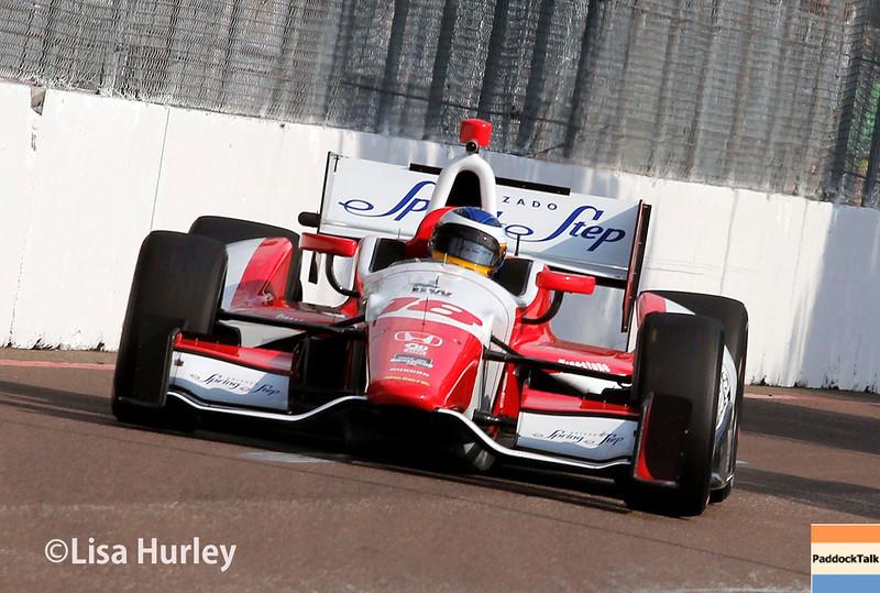 March 28: Carlos Huertas during Verizon IndyCar series practice for the Firestone Grand Prix of St. Petersburg.