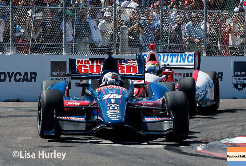 March 30: Graham Rahal and Justin Wilson during the Firestone Grand Prix of St. Petersburg Verizon IndyCar series race.