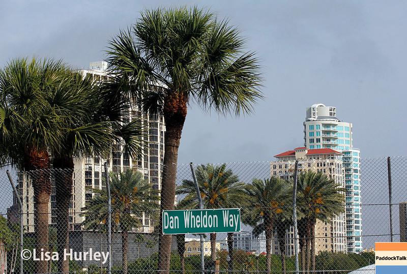March 28: Dan Wheldon Way during Verizon IndyCar series practice for the Firestone Grand Prix of St. Petersburg.