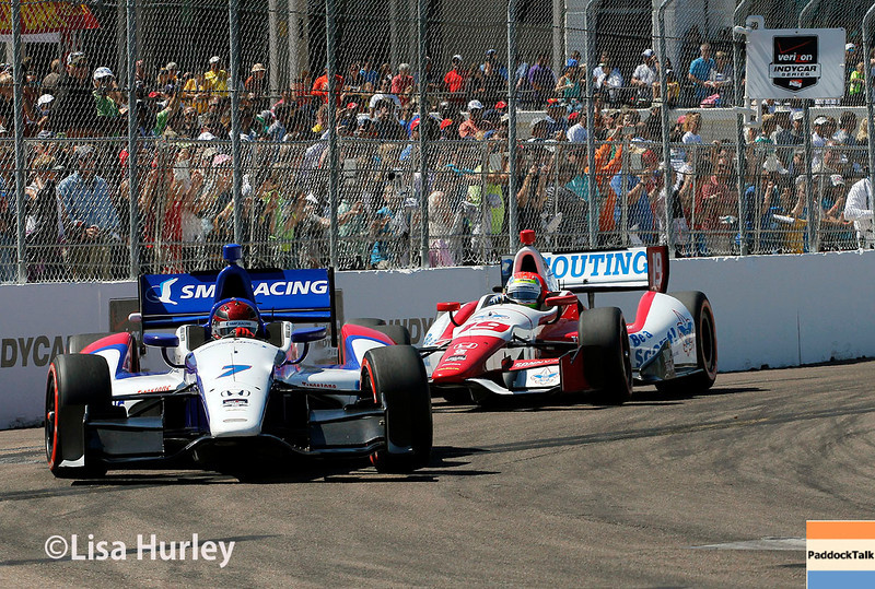 March 30: Mikhail Aleshin and Justin Wilson during the Firestone Grand Prix of St. Petersburg Verizon IndyCar series race.