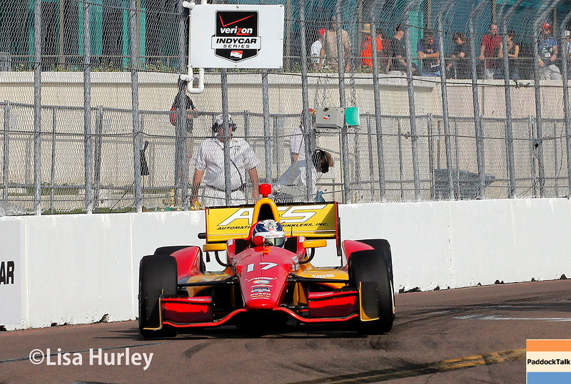 March 28:  Sebastian Saavedra during Verizon IndyCar series practice for the Firestone Grand Prix of St. Petersburg.