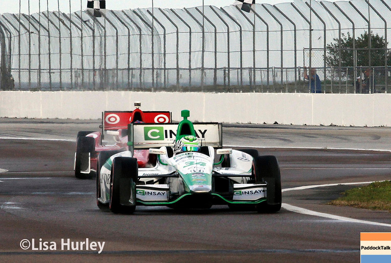 March 29:  Carlos Munoz and Scott Dixon during Verizon IndyCar series qualifying for the Firestone Grand Prix of St. Petersburg.