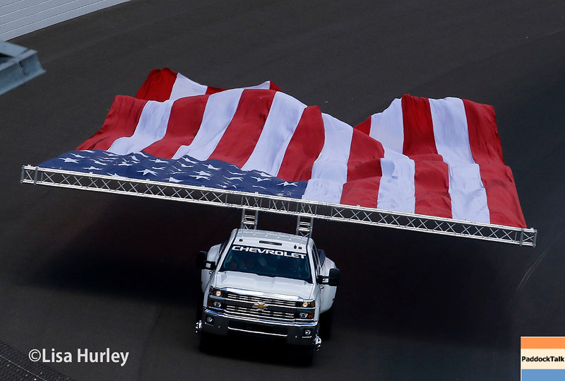 May 29: American flag before the 100th Running of the Indianapolis 500.