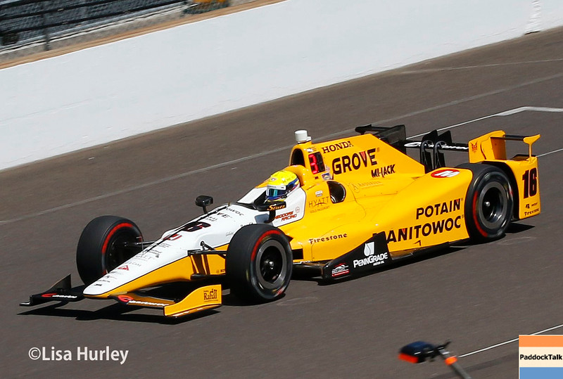 May 27: Spencer Pigot during Carb Day for the 100th running of the Indianapolis 500.