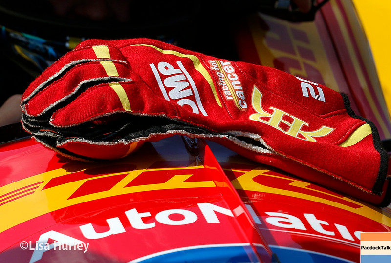 May 21-22: Ryan Hunter-Reay's gloves during qualifications for the 100th running of the Indianapolis 500.