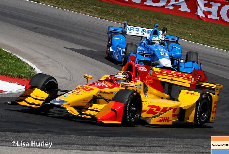 July 30-31: Ryan Hunter-Reay and Tony Kanaan during The Honda Indy 200 at Mid-Ohio.