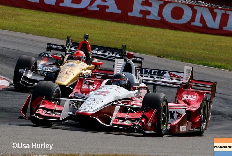 July 30-31: James Hinchcliffe and Juan Pablo Montoya during The Honda Indy 200 at Mid-Ohio.