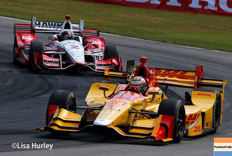 July 30-31: Ryan Hunter-Reay and Juan Pablo Montoya during The Honda Indy 200 at Mid-Ohio.