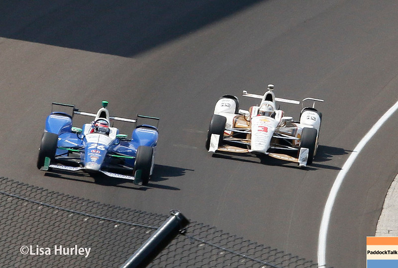 May 28: Takuma Sator and Helio Castroneves after the 101st Running of The Indianapolis 500.