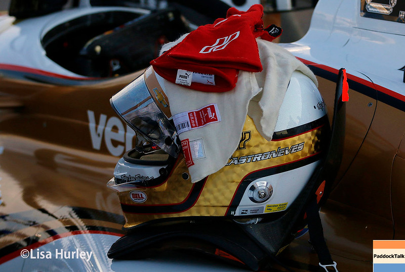 August 25-26: Helio Castroneves' helmet and gloves at the Bommarito Automotive Group 500 at Gateway Motorsports Park.