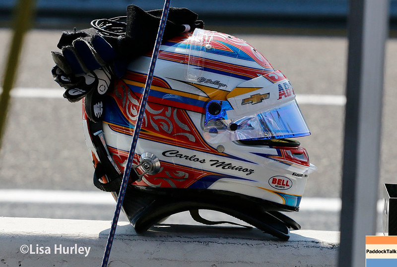 August 25-26: Carlos Munoz' helmet and gloves at the Bommarito Automotive Group 500 at Gateway Motorsports Park.