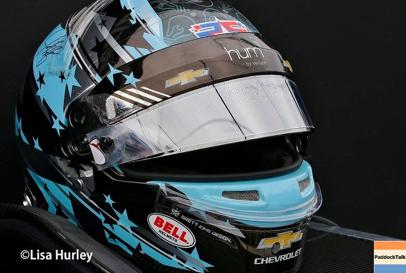 May 2017:  Josef Newgarden's helmet during practice for the 101st Running of the Indianapolis 500.