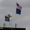 May 2017:  Flags on the Pagoda during practice for the 101st Running of the Indianapolis 500.