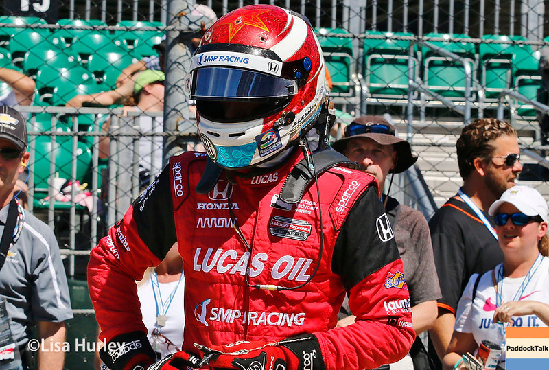 May 2017:  Mikhail Aleshin during practice for the 101st Running of the Indianapolis 500.