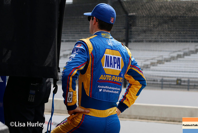 May 2017:  Alexander Rossi during practice for the 101st Running of the Indianapolis 500.