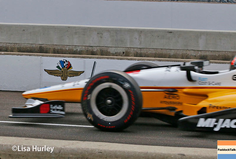 May 2017: Oriol Servia during practice for the 101st Running of the Indianapolis 500.